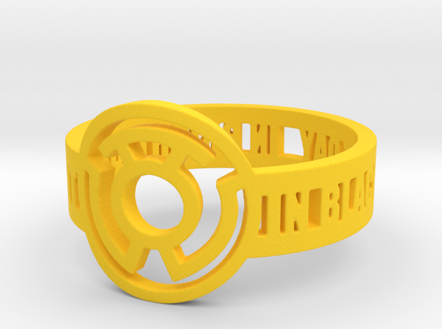 Yellow Lantern Oath Ring Size 15 in Yellow Processed Versatile Plastic