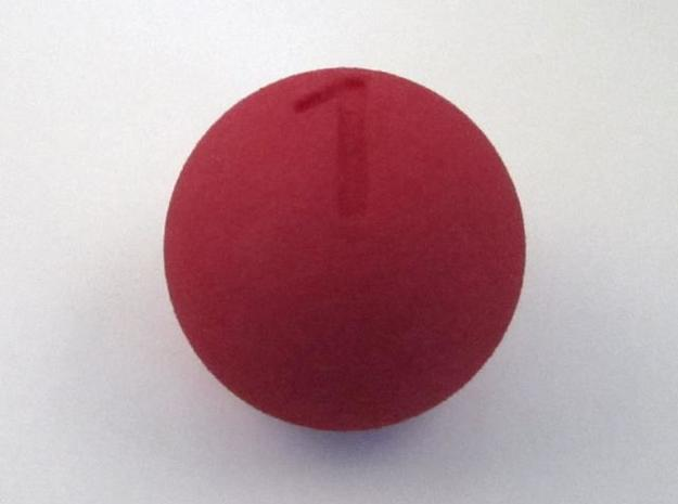 D1 Sphere Dice - one-sided dice in Red Strong & Flexible Polished