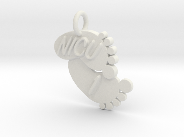 NICU 1 Keychain in White Natural Versatile Plastic