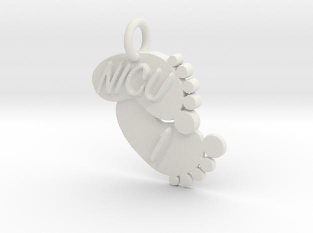 NICU 1 Keychain in White Natural Versatile Plastic