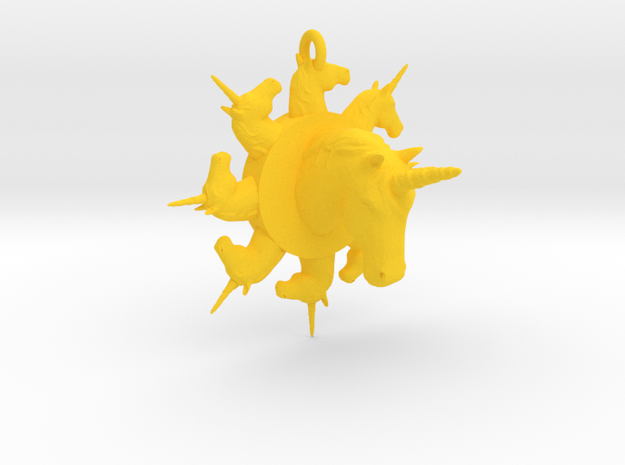many unicorn pendant extra large in Yellow Processed Versatile Plastic