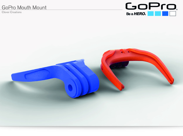 GoPro Mouth Mount in Orange Processed Versatile Plastic