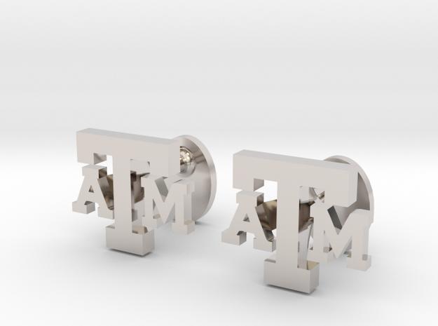Texas A&M Cufflinks, Customizable in Rhodium Plated Brass