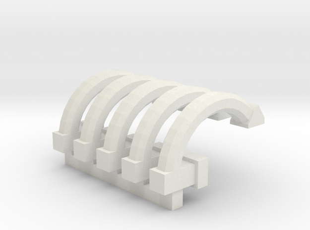 x5 Brake Pipes for OO / HO / Trackmaster engines in White Natural Versatile Plastic