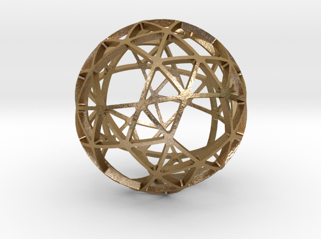 SNUB_DODECAHEDRON in Polished Gold Steel