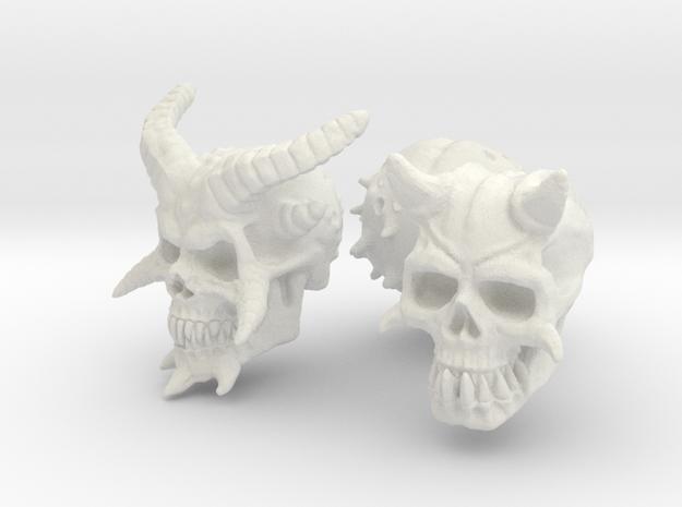 Three Skull set -Demonic and Undead in White Natural Versatile Plastic