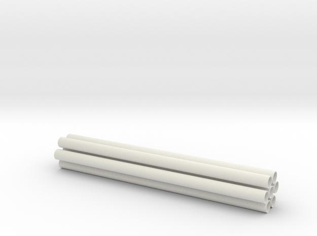 1.7 GUNSHIP TUBES in White Natural Versatile Plastic