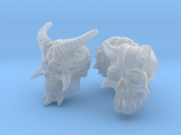 Three Skull set -Demonic and Undead in Smooth Fine Detail Plastic
