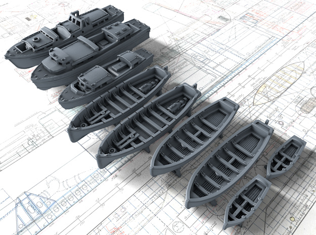 1/700 Scale HMS Nelson 1943 Boat Set in Smoothest Fine Detail Plastic