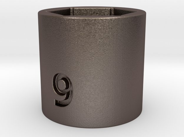 Ultra compact 9mm socket. Stainless steel. in Polished Bronzed Silver Steel