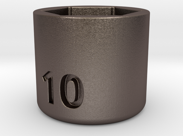 Ultra compact 10mm socket. Stainless steel. in Polished Bronzed Silver Steel