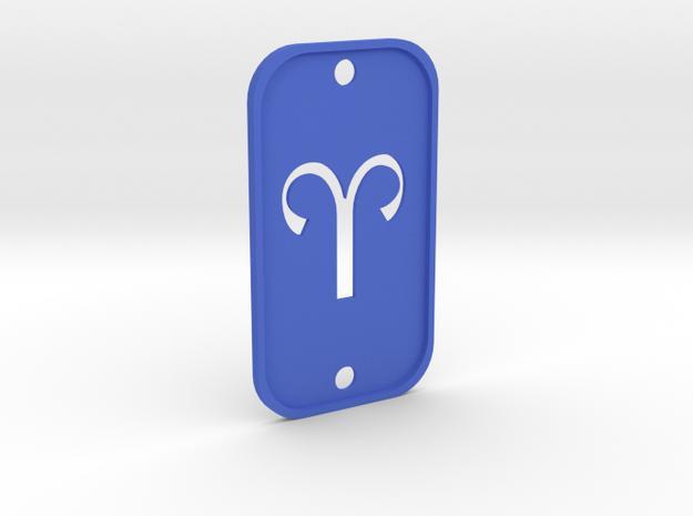 Aries (The Ram) DogTag V2 in Blue Processed Versatile Plastic