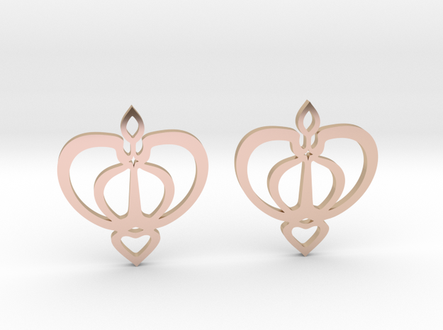 Earrings with a heart motif in 14k Rose Gold Plated Brass