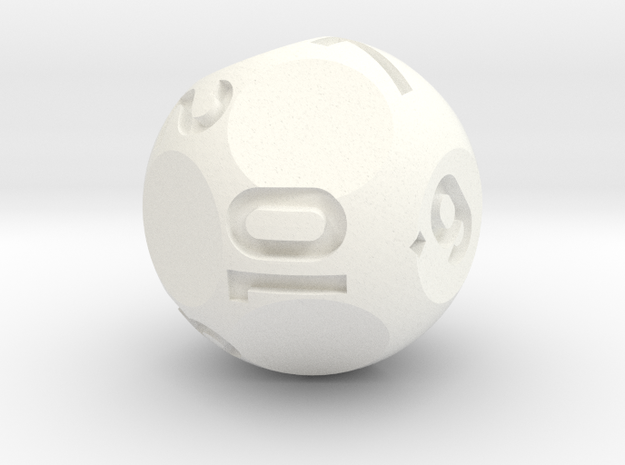 d10 Sphere Dice - Numbered 1-10 in White Processed Versatile Plastic