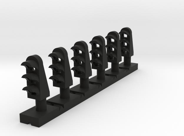 Dwarf 3 Light 160:1 N Scale (Qty 6) in Black Natural Versatile Plastic
