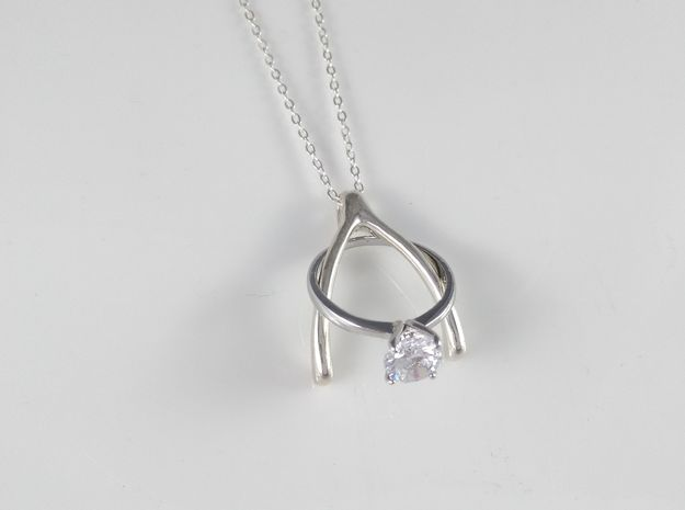Ring Holder Pendant: Wishbone in Polished Silver