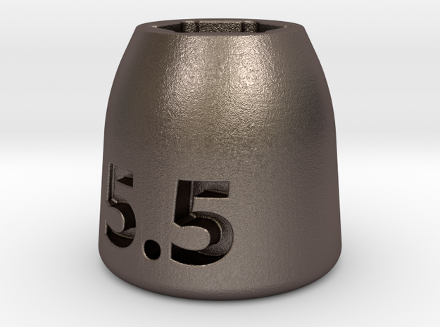 Ultra compact 5.5mm socket. Stainless steel. in Polished Bronzed Silver Steel