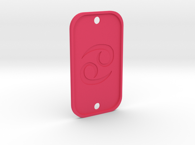 Cancer (The Crab) DogTag V4 in Pink Processed Versatile Plastic