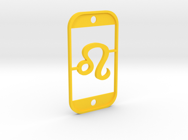Leo  (The Lion) DogTag V3 in Yellow Processed Versatile Plastic
