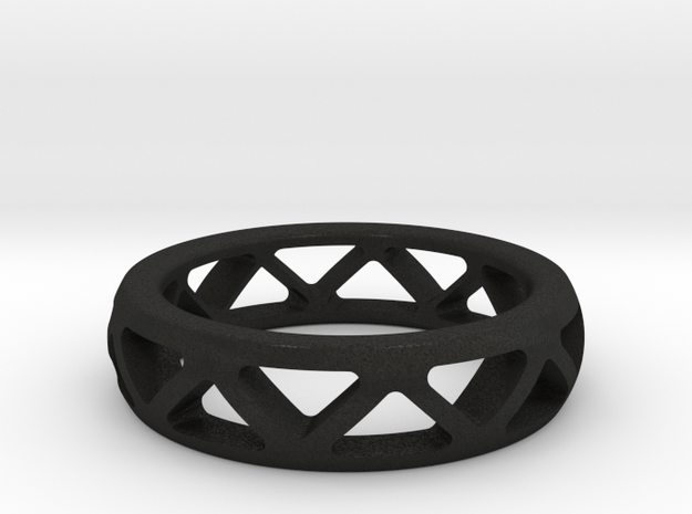 Geometric Ring- size 8 in Black Acrylic: Small
