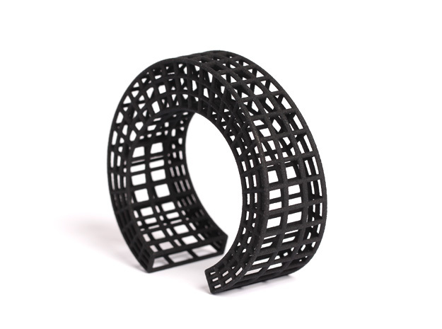 Large geometric cuff bracelet statement jewelry ar in Black Natural Versatile Plastic: Small