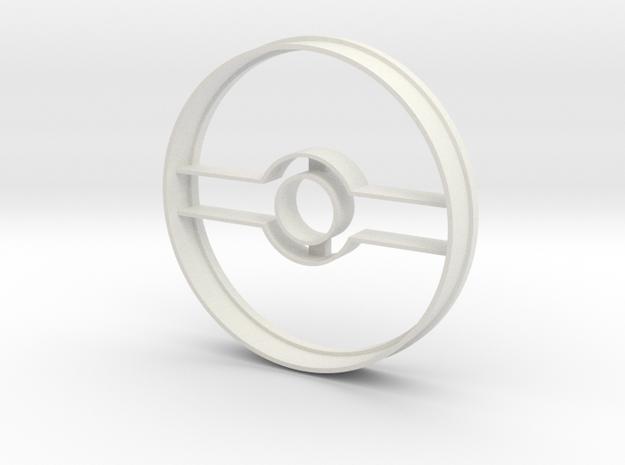 Pokeball Cookie Cutter in White Natural Versatile Plastic