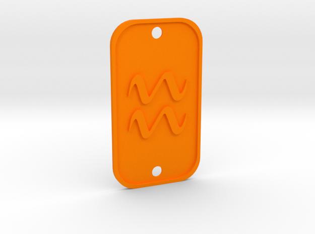 Aquarius (The Water-bearer) DogTag V1 in Orange Processed Versatile Plastic