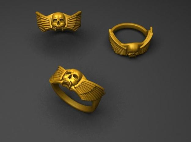 Winged Skull Ring 3d printed render (only one ring included!)