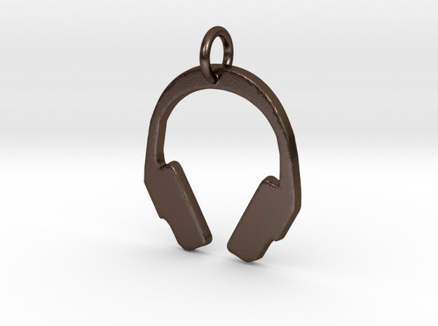 Headphones Pendant in Polished Bronze Steel