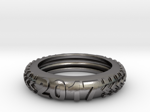 Custom Knobby Tire Ring (Ring Size: 9.5) in Polished Nickel Steel