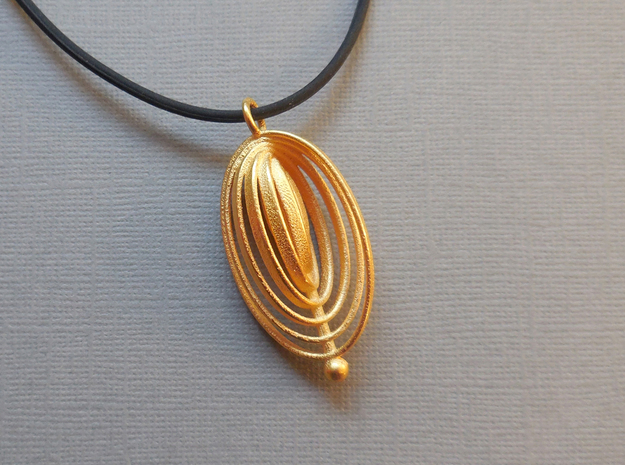 Ovals - Pendant in Polished Steel in Polished Gold Steel