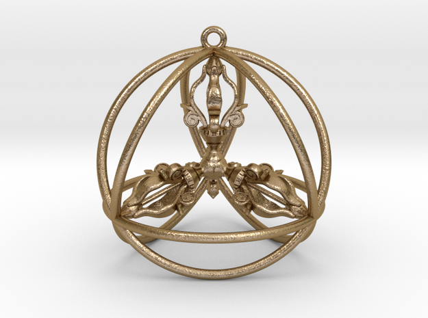 "Quadruple Dorje Tetrasphere Pendant  2"" in Polished Gold Steel"