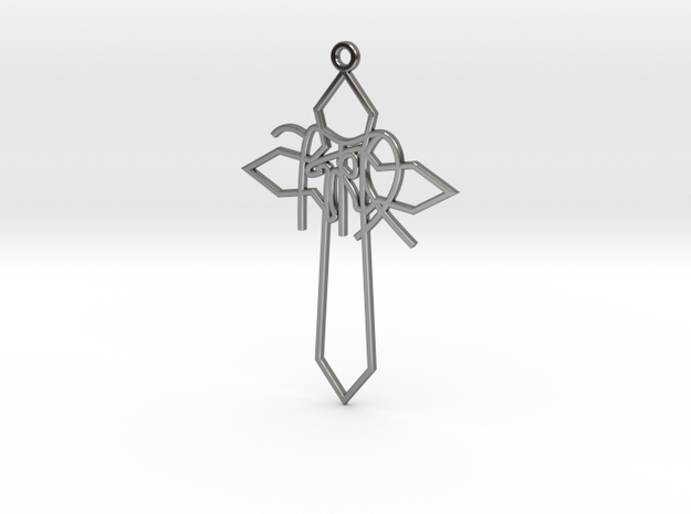 Personalised Astrological Cross Earring in Fine Detail Polished Silver