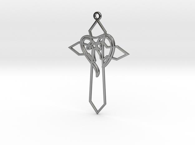 Personalised Heart Cross Earring in Fine Detail Polished Silver
