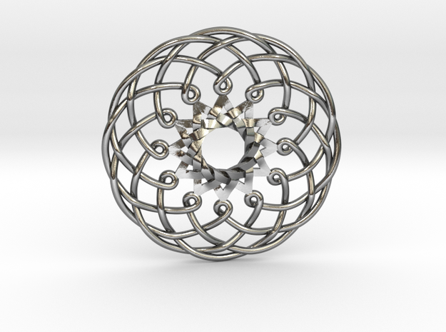 """Metatron Sunflower Pendant 1.5"""" in Polished Silver"""