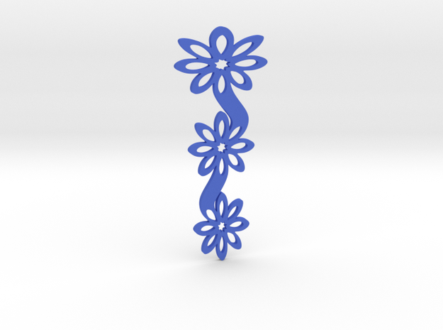 Floral bookmark - variant I in Blue Processed Versatile Plastic