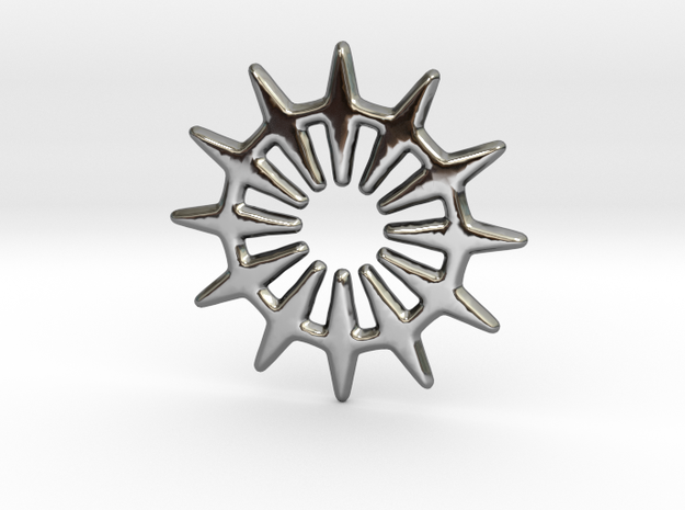 12 pointed star geometric base shape in Fine Detail Polished Silver