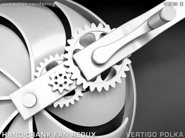 Hand-Crank Fan - slim 3d printed rendering