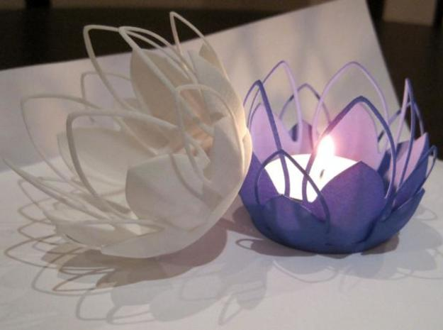 Tea-light - Flower in White Strong & Flexible