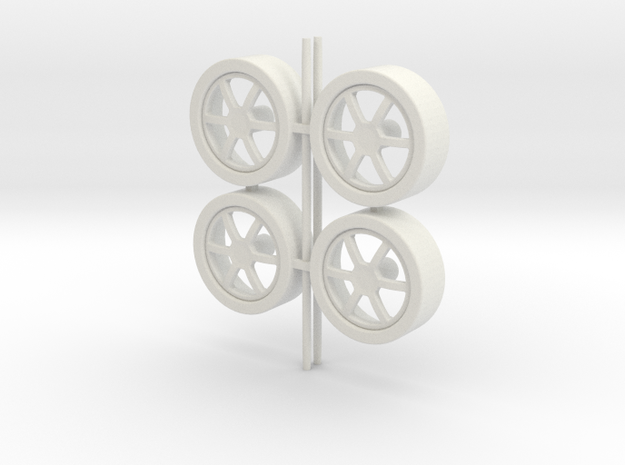 Wheels 6-spoke in White Natural Versatile Plastic