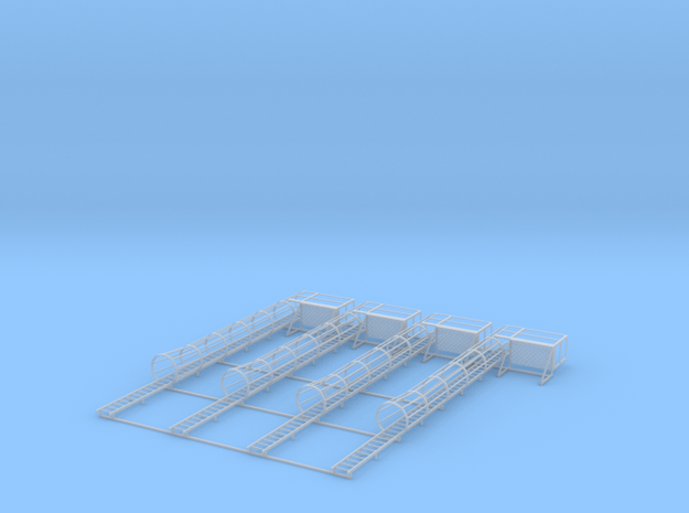 1/64 Ladder Cage Right Side Platform 4pc in Smooth Fine Detail Plastic