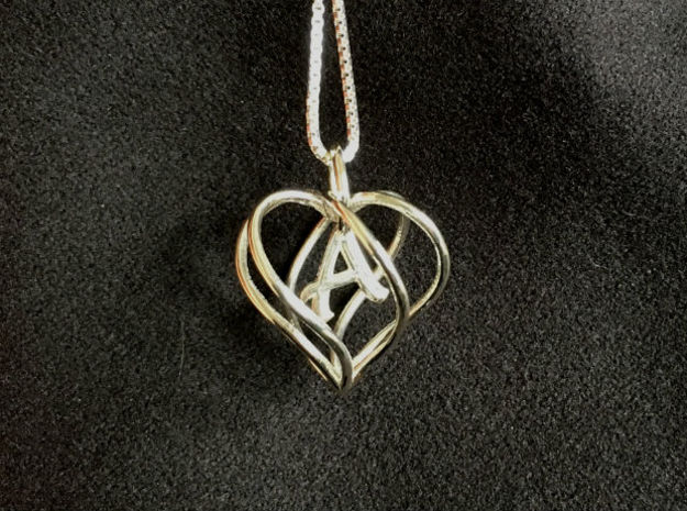 My Heart is Yours pendant, interlocking Initial A in Polished Silver (Interlocking Parts)