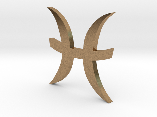 Pisces (The Fish) Symbol in Natural Brass
