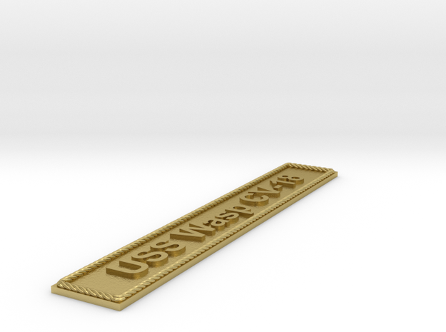 Nameplate USS Wasp CV-18 in Natural Brass