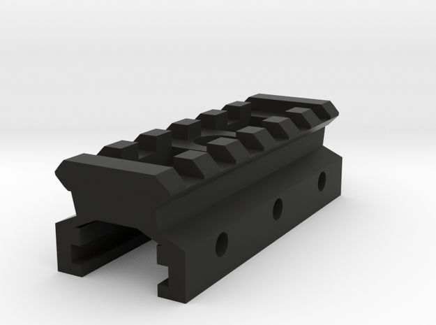 Nerf to Picatinny Adapter (6 Slots) in Black Natural Versatile Plastic