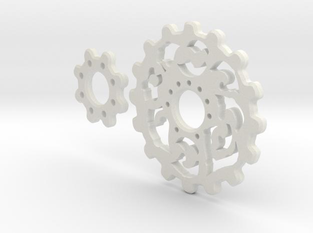 Gear Motif in White Natural Versatile Plastic