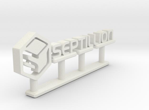 Septillion Logo in White Natural Versatile Plastic