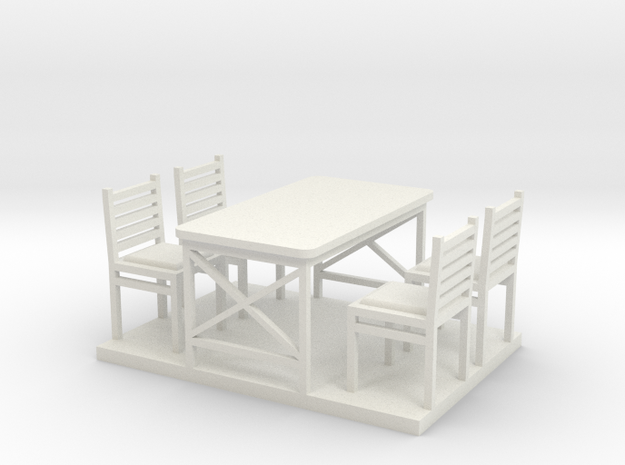 Waffle HouseTable and Chairs HO 87:1 Scale in White Natural Versatile Plastic