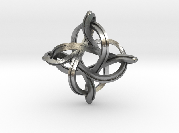 Premium infinity pendant 36mm in Natural Silver