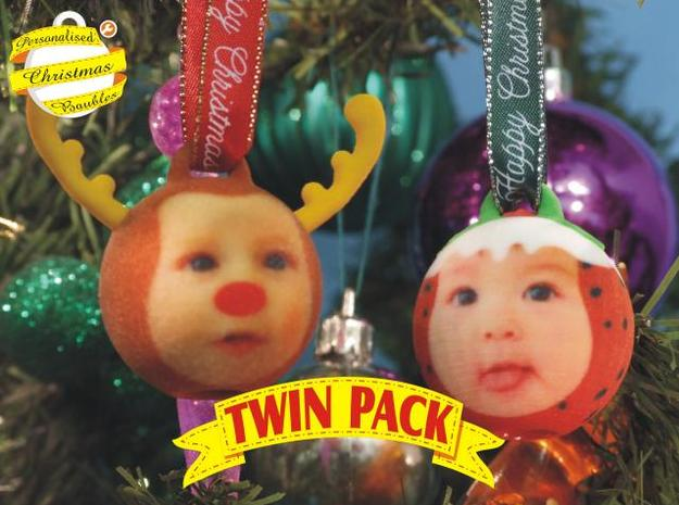 Reindeer& ChrisPuddin baubles twin pack (personali 3d printed front view